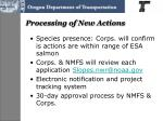 processing of new actions