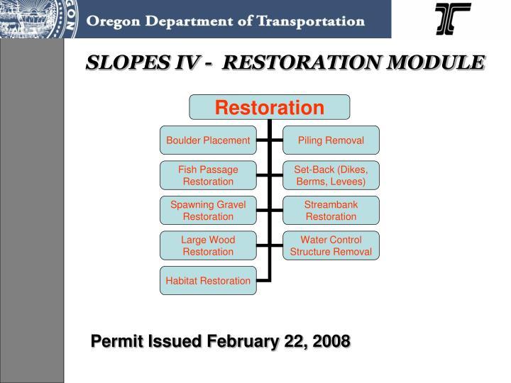 SLOPES IV -  RESTORATION MODULE