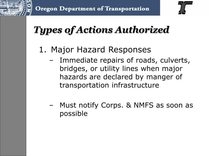 Types of Actions Authorized