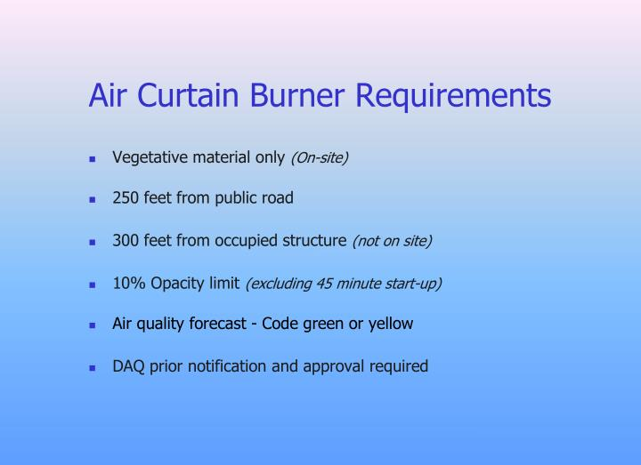 Air Curtain Burner Requirements