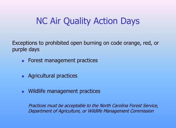 NC Air Quality Action Days