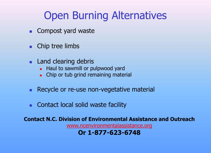 Open Burning Alternatives