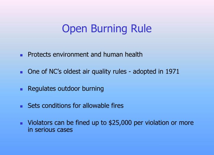 Open Burning Rule