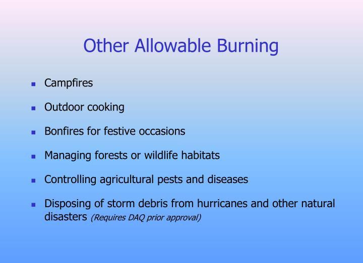 Other Allowable Burning