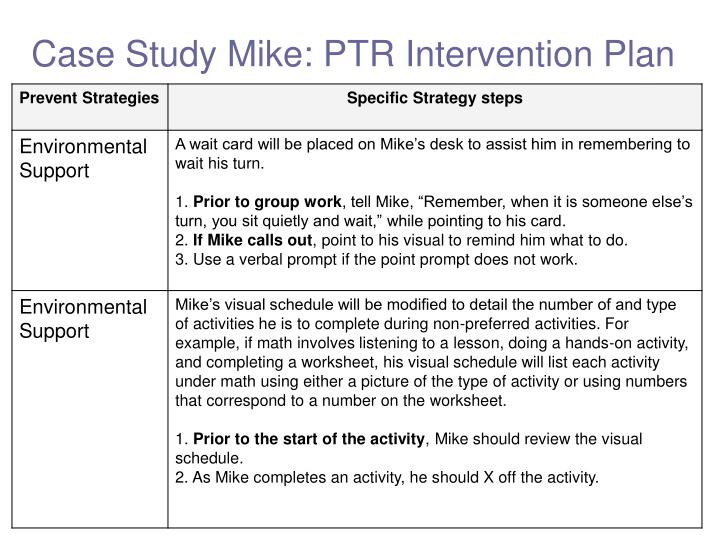Case Study Mike: PTR Intervention Plan