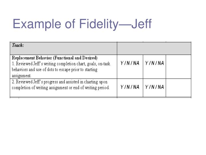 Example of Fidelity—Jeff