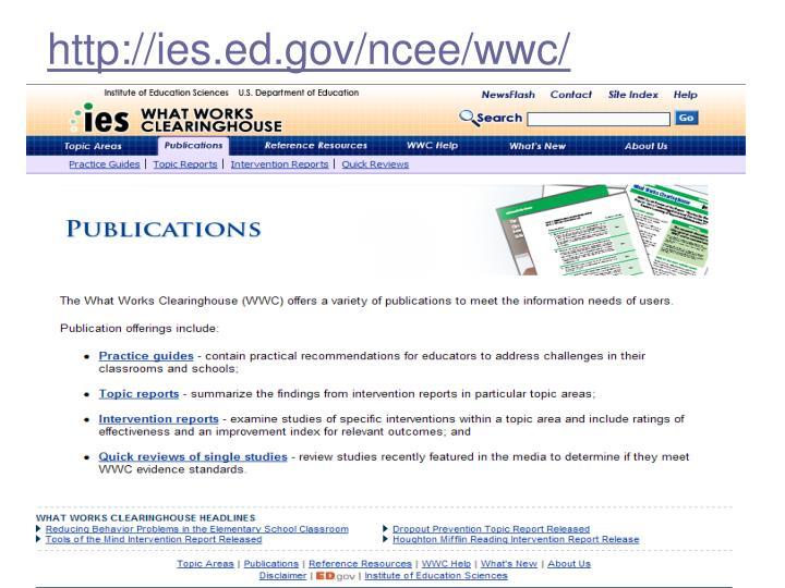 http://ies.ed.gov/ncee/wwc/