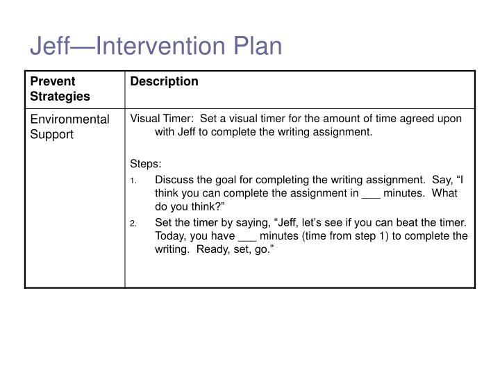 Jeff—Intervention Plan