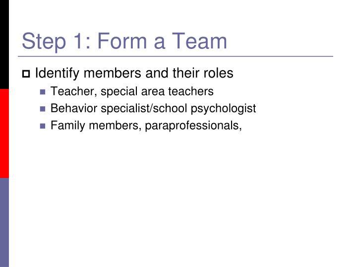 Step 1: Form a Team