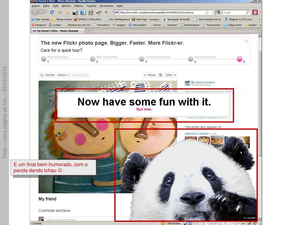 E um final bem-humorado, com o panda dando tchau
