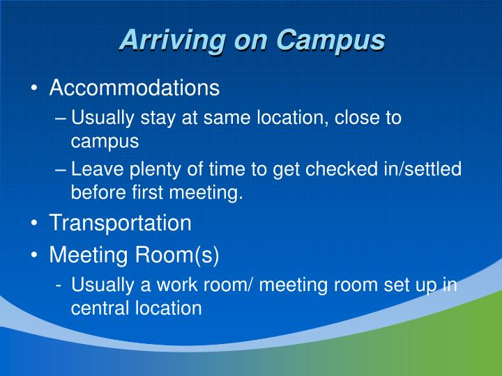 Arriving on Campus