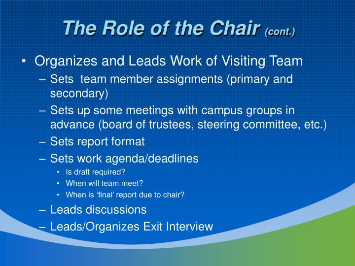 The Role of the Chair