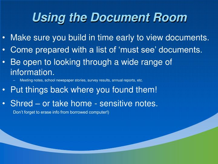 Using the Document Room