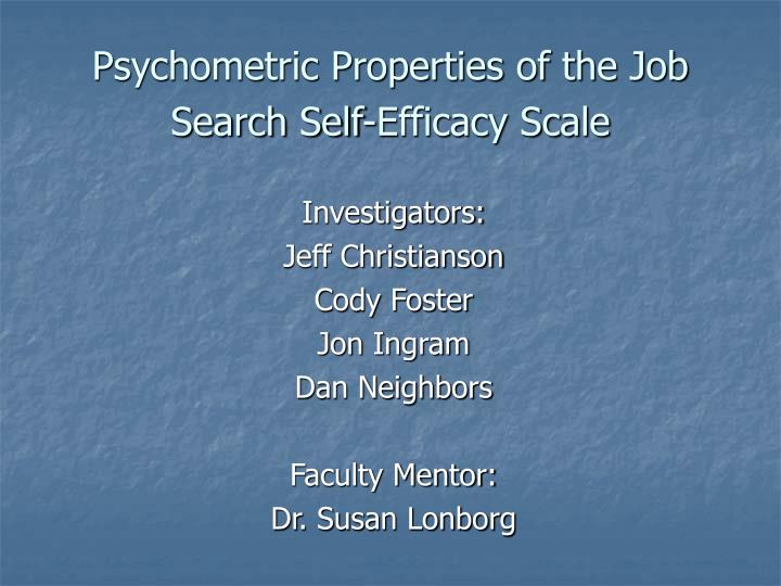 psychometric properties of the job search self efficacy scale