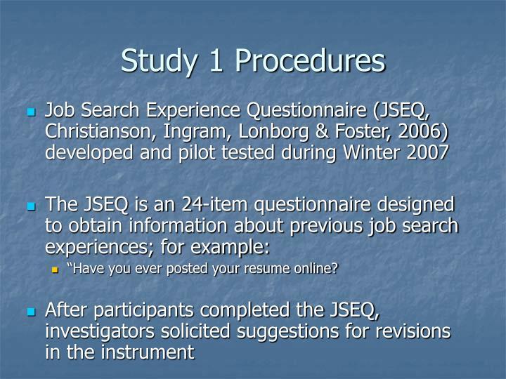 Study 1 Procedures