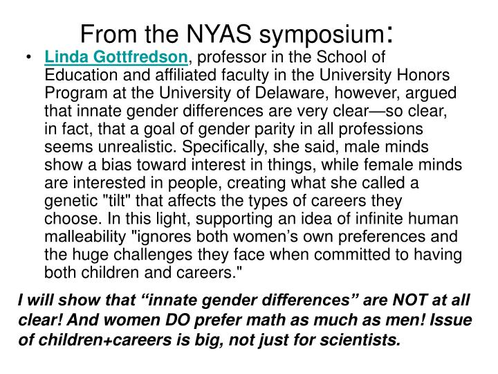From the NYAS symposium