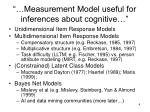 measurement model useful for inferences about cognitive