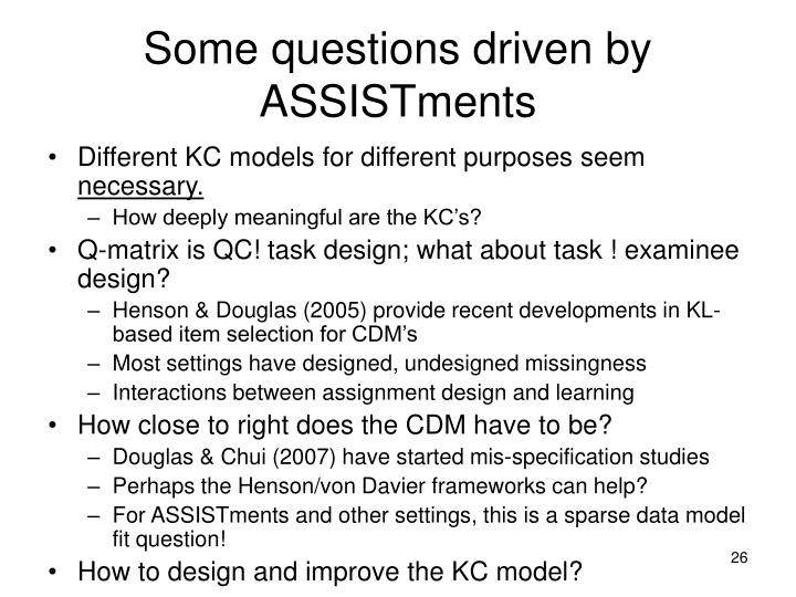 Some questions driven by ASSISTments