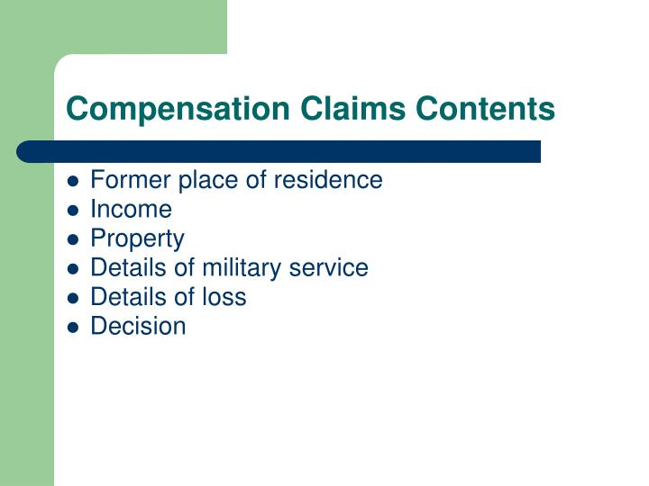 Compensation Claims Contents