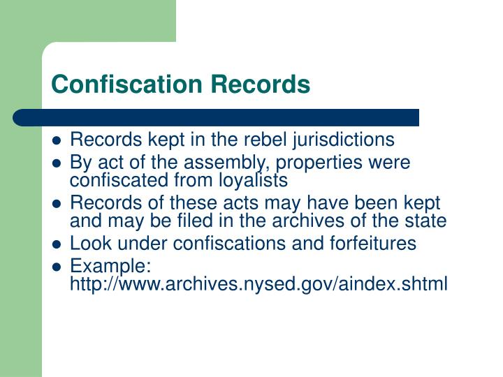 Confiscation Records
