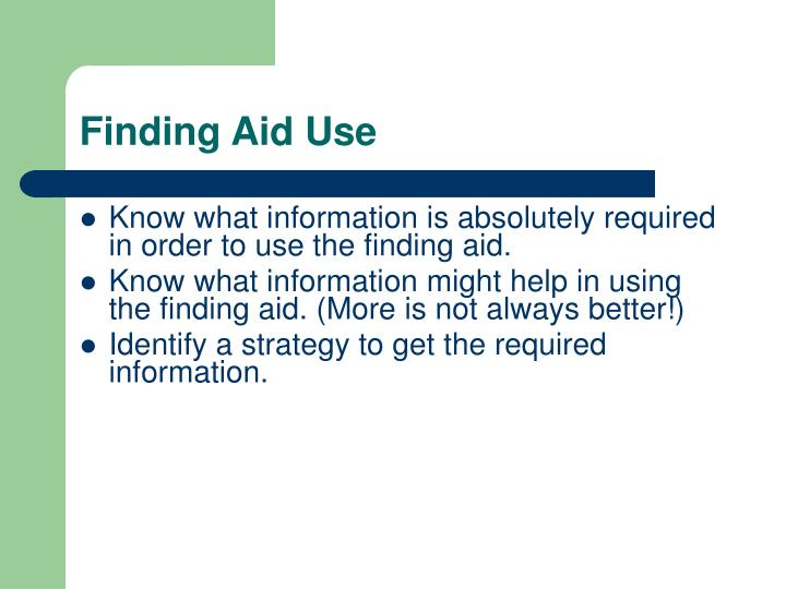 Finding Aid Use