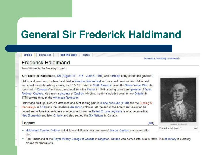 General Sir Frederick Haldimand