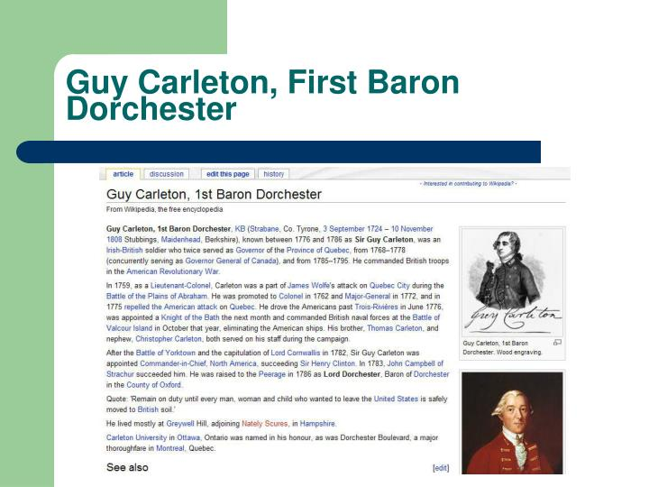 Guy Carleton, First Baron Dorchester