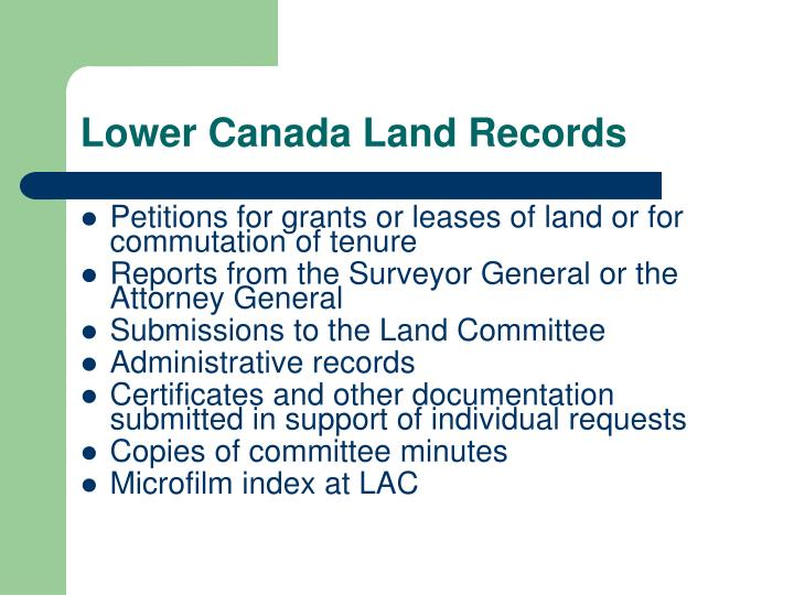 Lower Canada Land Records
