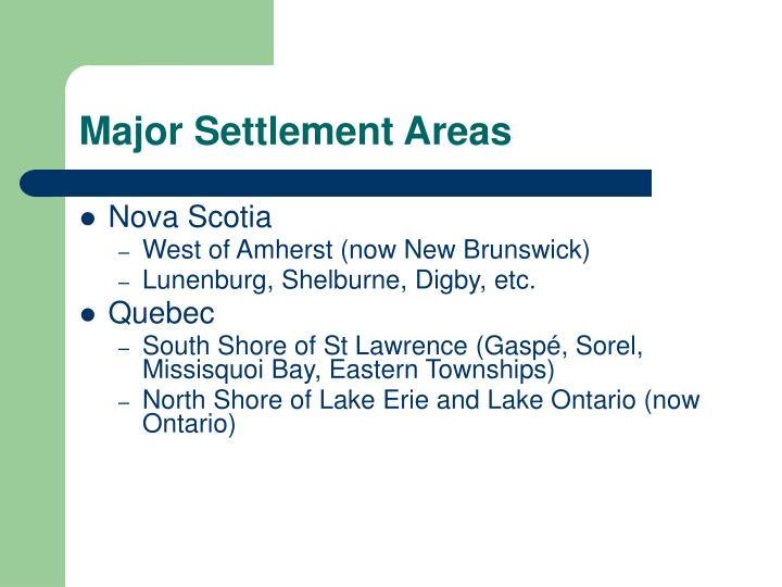 Major Settlement Areas