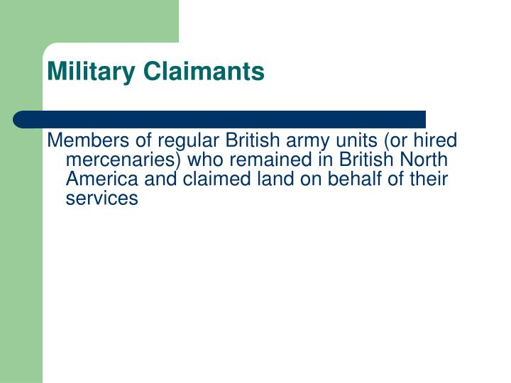 Military Claimants