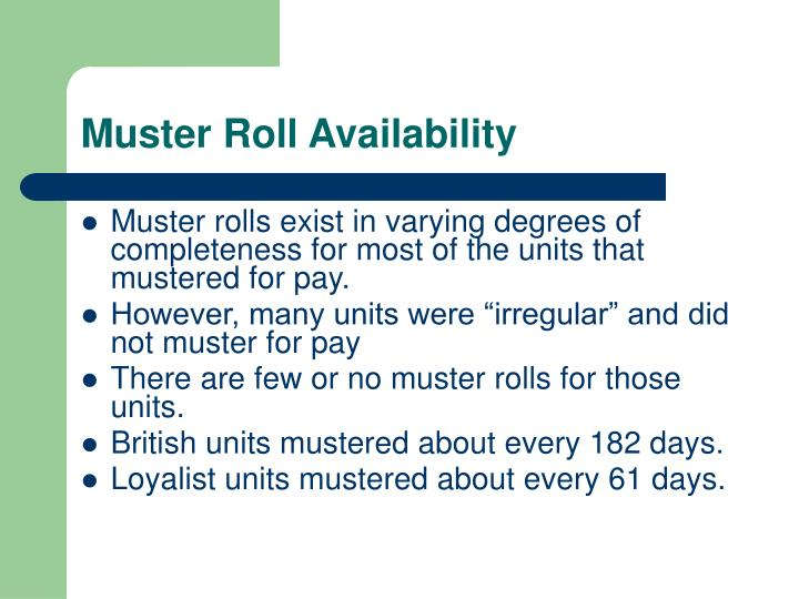 Muster Roll Availability