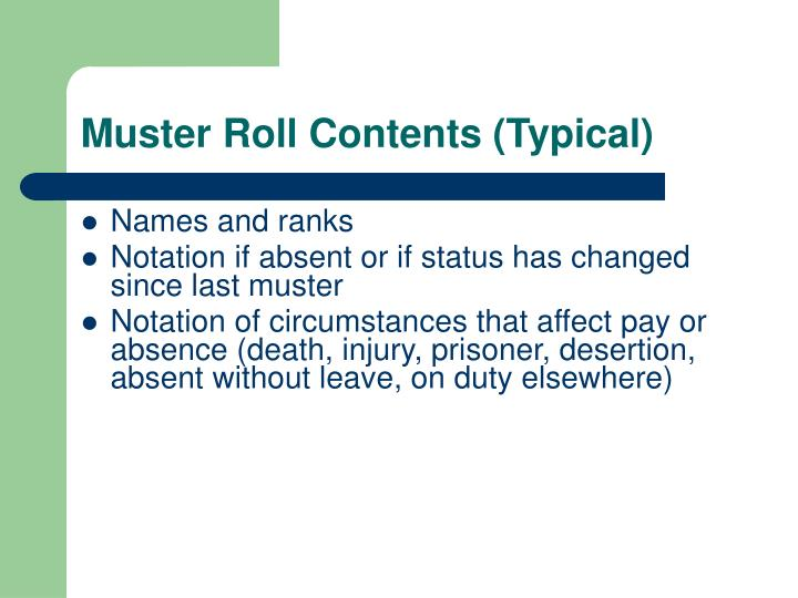 Muster Roll Contents (Typical)