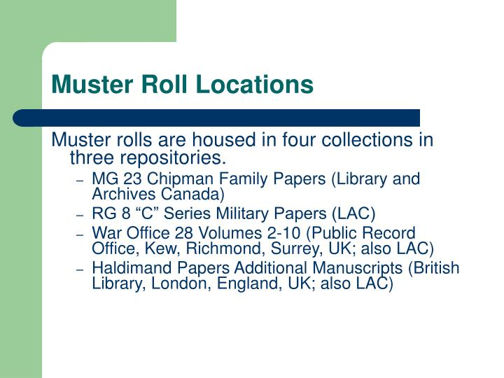 Muster Roll Locations
