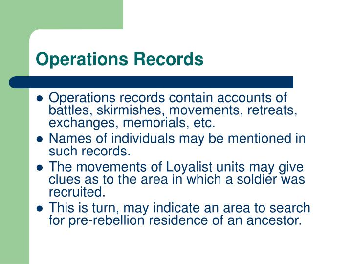 Operations Records
