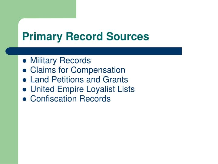 Primary Record Sources