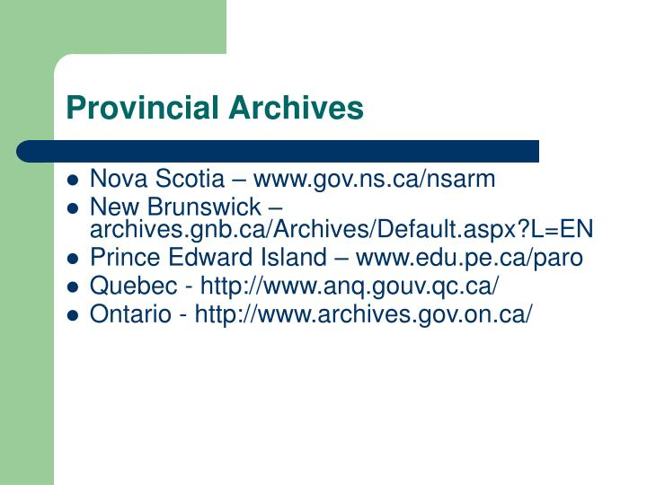 Provincial Archives