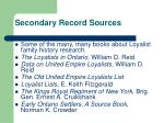 secondary record sources