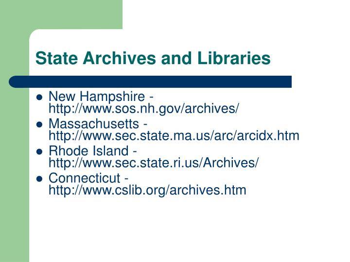 State Archives and Libraries