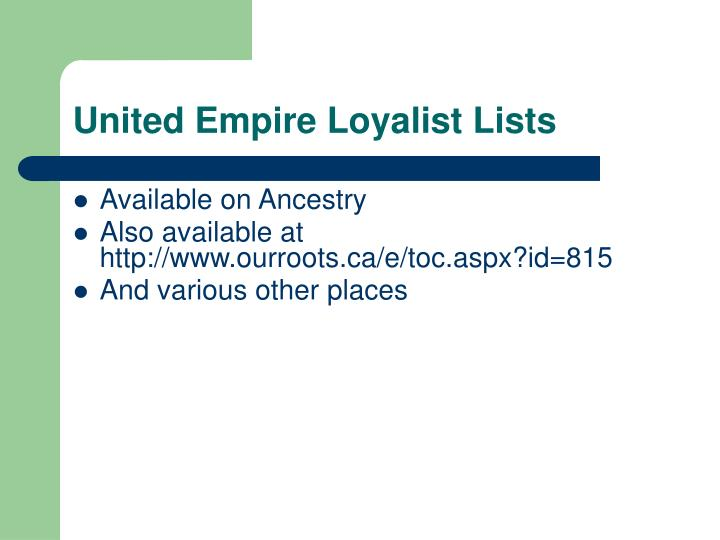 United Empire Loyalist Lists