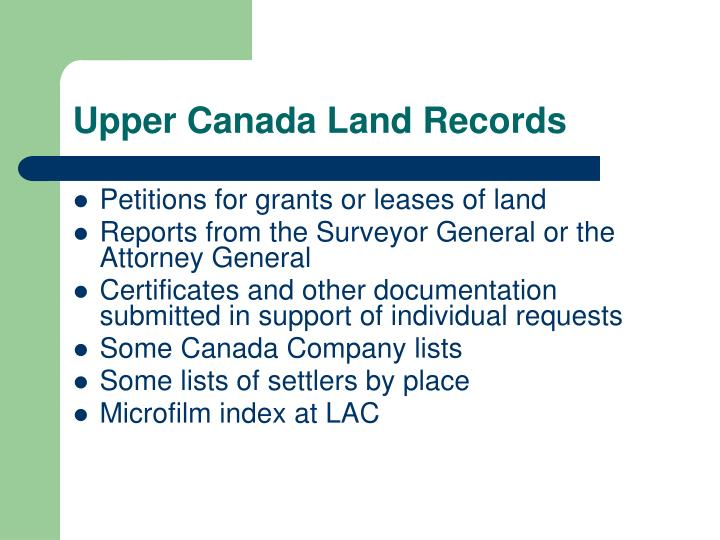 Upper Canada Land Records