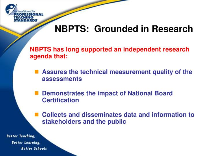 NBPTS:  Grounded in Research