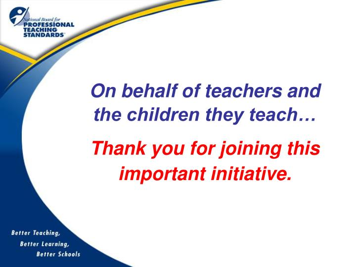 On behalf of teachers and