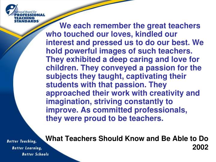 What teachers should know and be able to do 2002