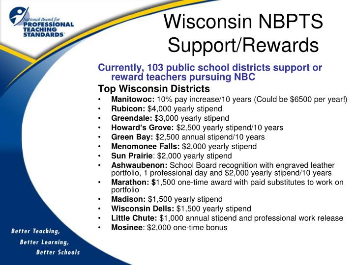Wisconsin NBPTS Support/Rewards