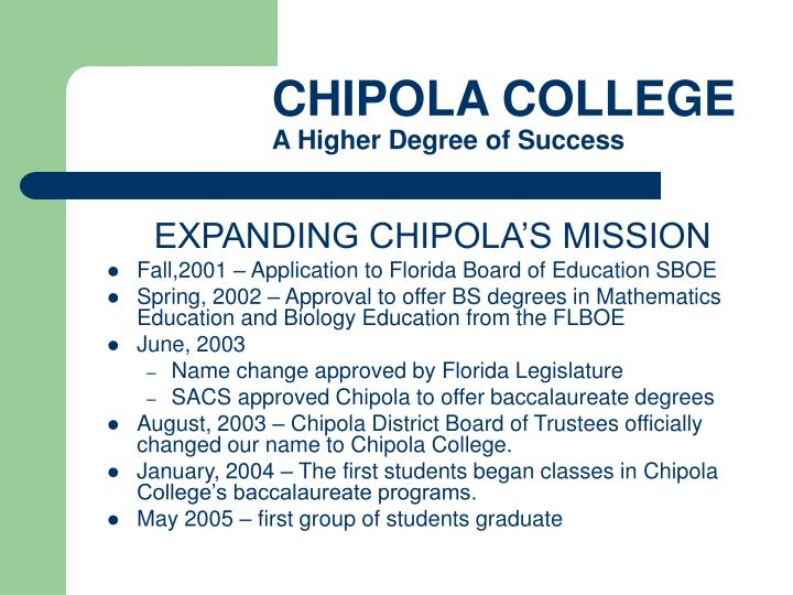 CHIPOLA COLLEGE