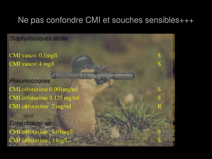 Ne pas confondre CMI et souches sensibles+++