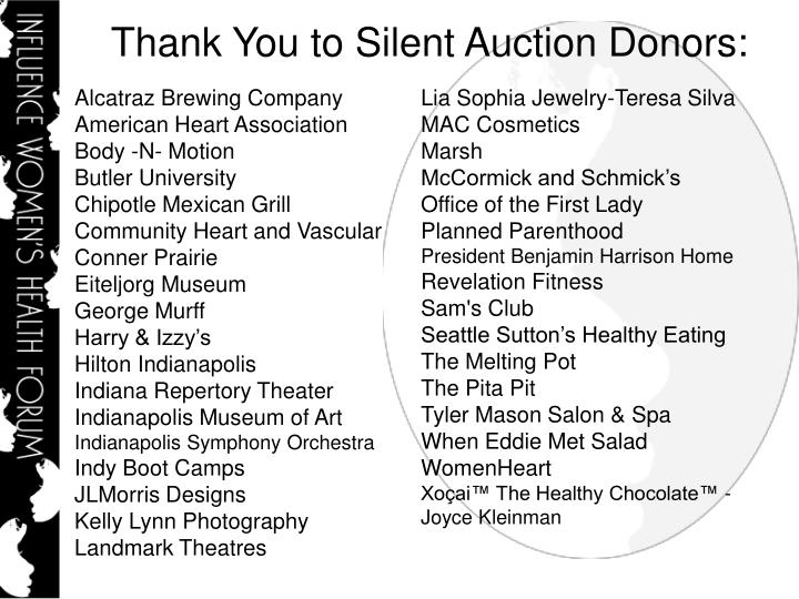 Thank You to Silent Auction Donors: