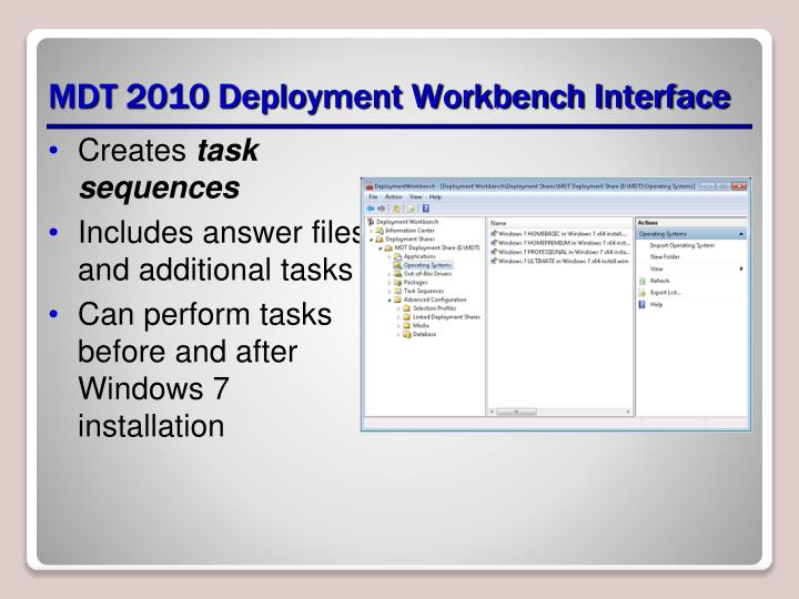 MDT 2010 Deployment Workbench Interface