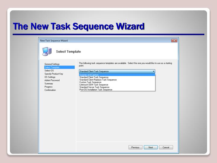 The New Task Sequence Wizard