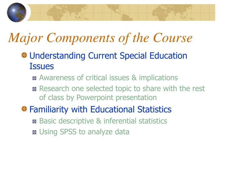 Major Components of the Course